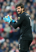 30th November 2019; Anfield, Liverpool, Merseyside, England; English Premier League Football, Liverpool versus Brighton and Hove Albion; Liverpool goalkeeper Alisson shouts directions to his defenders as Liverpool prepare to defend a corner kick - Strictly Editorial Use Only. No use with unauthorized audio, video, data, fixture lists, club/league logos or 'live' services. Online in-match use limited to 120 images, no video emulation. No use in betting, games or single club/league/player publications