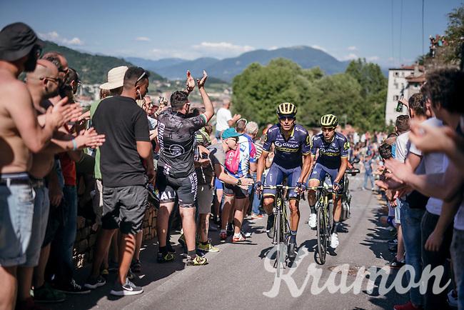 teammates Ruben Plaza (ESP/Orica-Scott) &amp; Carlos Verona (ESP/ORICA-Scott) up the final steep climb towards the Citt&agrave; Alta in Bergamo<br /> <br /> Stage 15: Valdengo &rsaquo; Bergamo (199km)<br /> 100th Giro d'Italia 2017