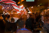 New York, NY - 4 November 2008 - Young voters celebrate Obama victory in Union Square Park.