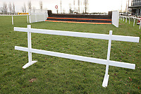 One of two trestles used to block off the fence by the finish line which was jumped by mistake at the last meeting - Horse Racing at Fakenham Racecourse, Norfolk