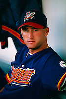 Joe Mays of the Lancaster JetHawks during a game at Clear Channel Stadium in Lancaster, California during the 1997 season.(Larry Goren/Four Seam Images)
