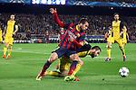UEFA Champions League 2013/2014.<br /> Quarter-finals 1st leg.<br /> FC Barcelona vs Club Atletico de Madrid: 1-1.<br /> Jordi Alba vs Arda Turan.