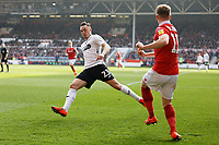 (L-R) Connor Roberts of Swansea City and Ben Osborn of Nottingham Forest in action during the Sky Bet Championship match between Nottingham Forest and Swansea City at City Ground, Nottingham, England, UK. Saturday 30 March 2019