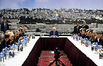 Palestinian President Mahmoud Abbas chairs a meeting of the Palestinian leadership in the West Bank city of Ramallah on September 25, 2017 Palestinian prime minister Rami Hamdallah will travel to Gaza on October 2 as part of a fresh push to end a decade-long split between Fatah and Hamas, which runs the enclave, his government said. Photo by Thaer Ganaim