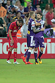 November 4th 2017, nib Stadium, Perth, Australia; A-League football, Perth Glory versus Adelaide United; Andy Keogh and Andrea Guerao celebrate the 1-0 win against Adelaide United