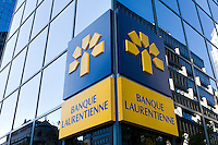 A Banque Laurentienne logo is pictured on a building  in Montreal November 3, 2008.