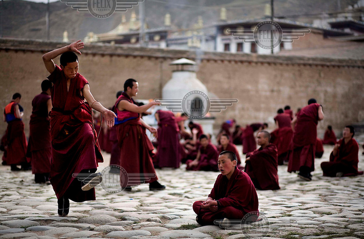 Young Buddhist monks in the courtyard of the monastery in Tongren.