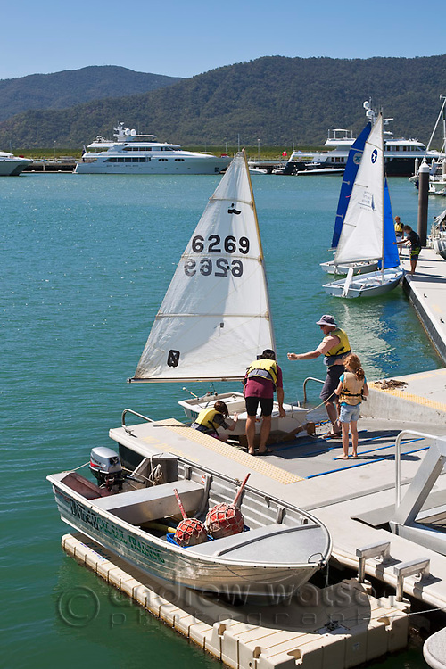 Sailing club boats at Marina Point.  Cairns, Queensland, Australia