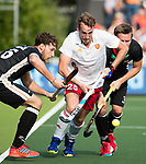 AMSTELVEEN - Chris Griffiths (Eng) with Dieter Linnekogel (Ger)  during the poulematch England v Germany (men) 3-4,Rabo Eurohockey Championships 2017.  WSP COPYRIGHT KOEN SUYK