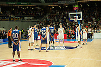 Real Madrid´s players and Anadolu Efes´s players during silence minute before the 2014-15 Euroleague Basketball match between Real Madrid and Anadolu Efes at Palacio de los Deportes stadium in Madrid, Spain. December 18, 2014. (ALTERPHOTOS/Luis Fernandez) /NortePhoto /NortePhoto.com