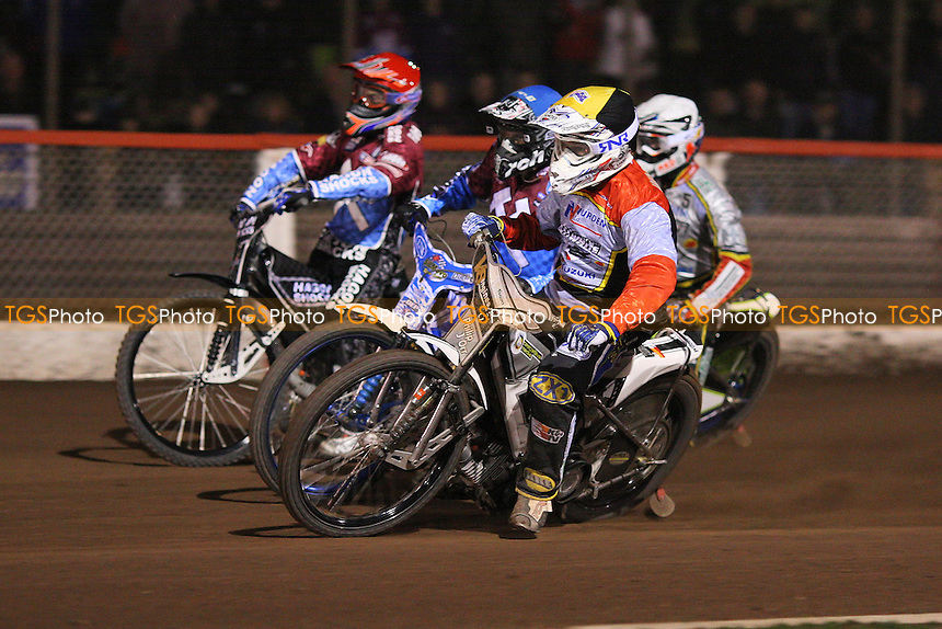 Heat 10 re-run: Kauko Nieminen (blue), Simon Stead (white), Cameron Woodward (yellow) and Lee Richardson (red) - Lakeside Hammers vs Swindon Robins - Elite League Challenge Speedway at Arena Essex Raceway - 25/03/11 - MANDATORY CREDIT: Gavin Ellis/TGSPHOTO - Self billing applies where appropriate - Tel: 0845 094 6026