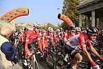 Thomas De Gendt (BEL) Lotto-Soudal at the start of the 112th edition of Il Lombardia 2018, the final monument of the season running 241km from Bergamo to Como, Lombardy, Italy. 13th October 2018.<br /> Picture: Eoin Clarke | Cyclefile<br /> <br /> <br /> All photos usage must carry mandatory copyright credit (© Cyclefile | Eoin Clarke)
