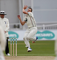 Will Gidman bowls during day 1 of the four day tour match between Kent CCC and Pakistan at the St Lawrence Ground, Canterbury, on Sat April 28, 2018