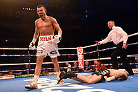 Liam Williams (white shorts) defeats Joe Mullender during a Boxing Show at the Royal Albert Hall on 8th March 2019