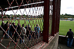 Kirkintilloch Rob Roy 1 Kilsyth Rangers 1, 16/08/2008. Adamslie Park, Sectional League Cup. Kirkintilloch Rob Roy supporters watching their team (in red-and-black) taking on local rivals Kilsyth Rangers in a Sectional League Cup (Central) Section 8 tie at soon-to-be demolished Adamslie Park. The game ended in a 1-1 draw allowing Kilsyth to progress to the quarter-finals. Junior football was divided into East, West and North sections and played throughout Scotland. It had its own governing body, the SJFA and regional pyramid structure and national cup competition. Photo by Colin McPherson.