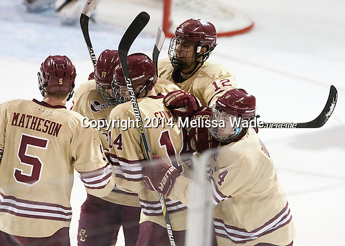Michael Matheson (BC - 5), Destry Straight (BC - 17), Adam Gilmour (BC - 14), Alex Tuch (BC - 12), Teddy Doherty (BC - 4) - The Boston College Eagles defeated the visiting University of Michigan Wolverines 5-1 (EN) on Saturday, December 13, 2014, at Kelley Rink in Conte Forum in Chestnut Hill, Massachusetts.