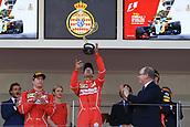 May 28th 2017, Monaco; F1 Grand Prix of Monaco Race Day;  Sebastian Vettel - Scuderia Ferrari wins the Monaco GP and celebrates on the podium with his team mate Kimi Raikkonen and then Daniel Ricciardo - Red Bull Racing