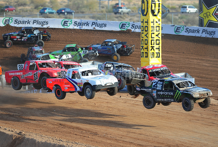 Dec. 11, 2011; Chandler, AZ, USA; LOORRS pro lite driver Cameron Steele leads the field of drivers during the Lucas Oil Challenge Cup at Firebird International Raceway. Mandatory Credit: Mark J. Rebilas-