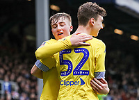 Leeds United's Aapo Halme celebrates scoring his side's first goal with team mate Jack Clarke (left)<br /> <br /> Photographer Andrew Kearns/CameraSport<br /> <br /> The Emirates FA Cup Third Round - Queens Park Rangers v Leeds United - Sunday 6th January 2019 - Loftus Road - London<br />  <br /> World Copyright &copy; 2019 CameraSport. All rights reserved. 43 Linden Ave. Countesthorpe. Leicester. England. LE8 5PG - Tel: +44 (0) 116 277 4147 - admin@camerasport.com - www.camerasport.com