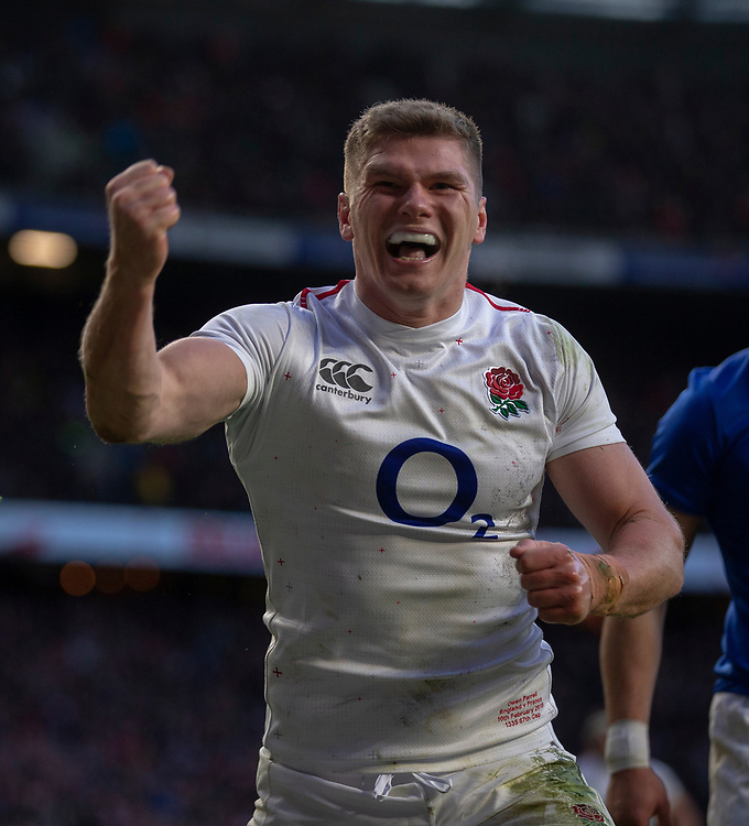 England's Owen Farrell celebrates scoring a try<br /> <br /> Photographer Bob Bradford/CameraSport<br /> <br /> Guinness Six Nations Championship - England v France - Sunday 10th February 2019 - Twickenham Stadium - London<br /> <br /> World Copyright &copy; 2019 CameraSport. All rights reserved. 43 Linden Ave. Countesthorpe. Leicester. England. LE8 5PG - Tel: +44 (0) 116 277 4147 - admin@camerasport.com - www.camerasport.com