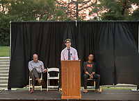 Associated Students of Occidental College (ASOC) student body president Zachary Solomon '20. O-Team cheers for parents and students at the Welcome to Oxy event at the Remsen Bird Hillside Theater (Greek Bowl) as part of the official Orientation kickoff. Speakers then spoke to the assembled group. Incoming first-years and their families are welcomed by O-Team members and the community at the start of Occidental College's Fall Orientation for the class of 2021, Aug. 24, 2017.<br /> (Photo by Marc Campos, Occidental College Photographer)