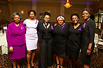 WATERBURY, CT - 19 MAY - 051918JW14.jpg --  Denise Foster, Dora Vennett, Shynea Wood, Aletha Minnis, Kimkelly Myers and Kathy Taylor pose for a photo during the National Congress of Black Women scholarship awards luncheon at La Bella Vista Saturday Afternoon.  Jonathan Wilcox Republican-American