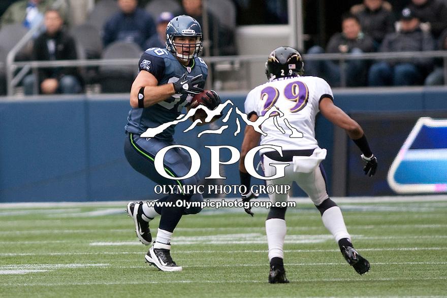 Seattle Seahawk Zach Miller against the Baltimore Ravens.  Seattle won 22-17 over the Baltimore Ravens at Century Link field in Seattle, WA.