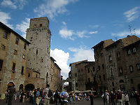 The medeval Tuscan hilltown, San Gimignano. .(David - that's jim-een-nya-no)