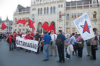 European Left supporters participate in a demonstration against the outcome of the general elections in Budapest, Hungary on April 21, 2018. ATTILA VOLGYI