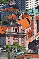 Elevated view of Preseren Square and baroque-style Franciscan Church of the Annunciation of Mary, Ljubljana, Slovenia