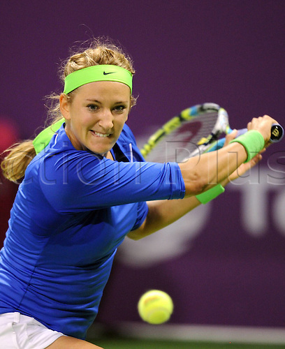 19 02 2012   Doha Feb 19 2012 Xinhua Victoria Azarenka of Belarus Returns to Agnieszka Radwanska of Poland during their WTA Tennis women Qatar Open Semi Final Tennis Match in Doha ON February 18 2012 Victoria Azarenka Won 2 0 and Advanced Into The Final Xinhua Chen   Qatar Doha Tennis WTA Qatar Total Open
