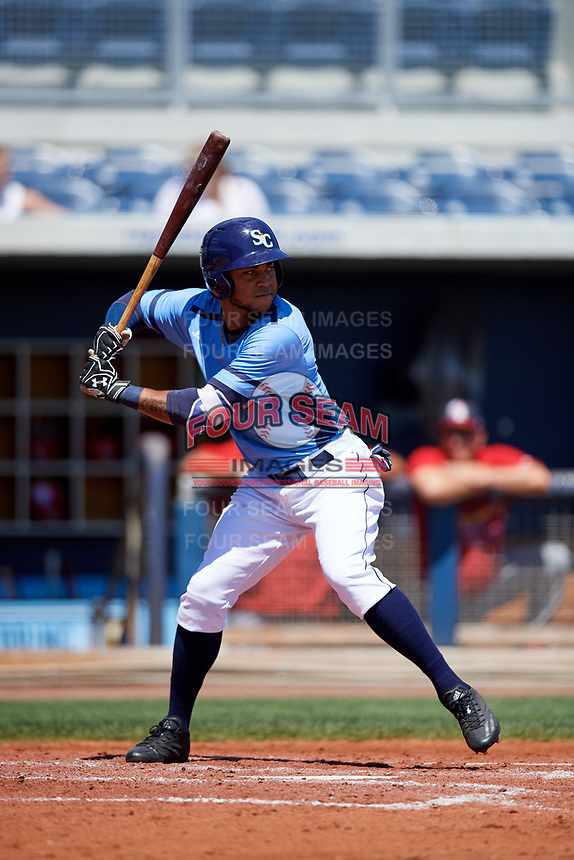 Charlotte Stone Crabs center fielder Angel Moreno (1) at bat during a game against the Palm Beach Cardinals on April 12, 2017 at Charlotte Sports Park in Port Charlotte, Florida.  Palm Beach defeated Charlotte 8-7.  (Mike Janes/Four Seam Images)
