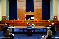 Robert Redfield, director of the Centers for Disease Control and Prevention (CDC), from left, Anthony Fauci, director of the National Institute of Allergy and Infectious Diseases, and Admiral Brett Giroir, U.S. assistant secretary for health, testify during a US House Select Subcommittee on the Coronavirus Crisis hearing in Washington, D.C., U.S., on Friday, July 31, 2020. Trump administration officials are set to defend the federal government's response to the coronavirus crisis at the hearing hosted by a House panel calling for a national plan to contain the virus. <br /> Credit: Erin Scott / Pool via CNP /MediaPunch