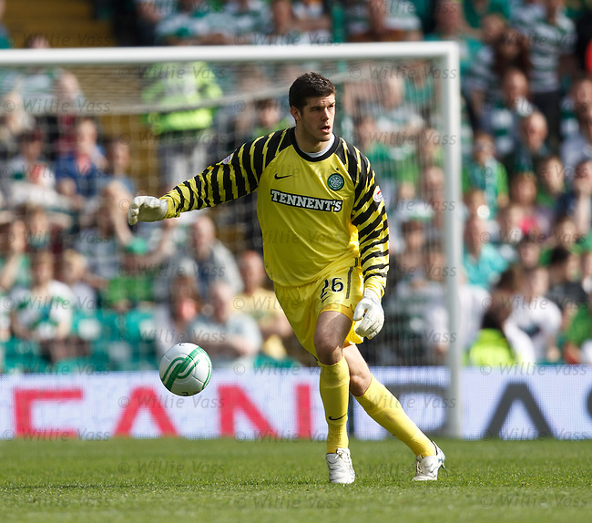 Celtic keeper Fraser Forster takes the ball upfield as Celtic press for a goal