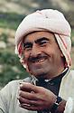 Iraq 1963 .Mustafa Barzani drinking tea.Irak 1963.Mustafa Barzani buvant du the