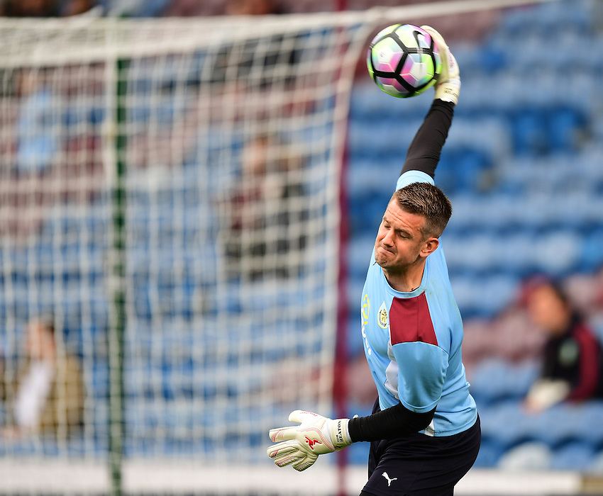 Burnley's Thomas Heaton during the pre-match warm-up <br /> <br /> Photographer Chris Vaughan/CameraSport<br /> <br /> Football - The Premier League - Burnley v Swansea City - Saturday 13th August 2016 - Turf Moor - Burnley<br /> <br /> World Copyright &copy; 2016 CameraSport. All rights reserved. 43 Linden Ave. Countesthorpe. Leicester. England. LE8 5PG - Tel: +44 (0) 116 277 4147 - admin@camerasport.com - www.camerasport.com