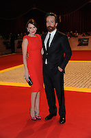 Keeley Hawes & Matthew Macfadyen.The World Premiere of 'The Three Musketeers 3D' at the Vue Cinema, Westfield, London, England..October 4th, 2011.full length red orange sleeveless dress clutch bag silver pink shoes black suit beard facial hair married husband wife .CAP/CAS.©Bob Cass/Capital Pictures.