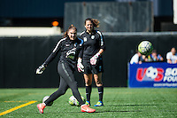 Seattle, WA - Sunday, May 1, 2016: Seattle Reign FC goalkeeper Hope Solo (1) prior to a National Women's Soccer League (NWSL) match at Memorial Stadium. Seattle won 1-0.