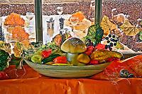 Autumn harvest display of mushrooms and vegetables in restaurant atop Pilatus Mountain, near Lucerne, Switzerland