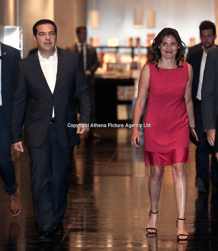 Pictured L-R: Prime Minister Alexis Tsipras with wife Peristera (Betty) Batziana arrive for a formal dinner in Athens, Greece. Friday 17 June 2016<br /> Re: The United Nations secretary-general is visiting Greece, ahead of talks with government officials and a trip to the island of Lesbos, which is at the forefront of Greece's immigration crisis.<br /> Ban Ki-moon met with officials and volunteers at the Solidarity Now group, which helps victims of Greece's financial crisis and migrants stuck in the country.<br /> He has also visited Greek President Procopis Pavlopoulos before travelling camps on Lesbos island where 3,400 refugees and other migrants live.
