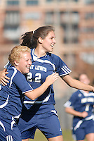 Fort Lewis College collegiate athletes celebrate a goal during the regional championship game for the Rocky Mountain Athletic Conference in 2007 in Denver, Colorado.