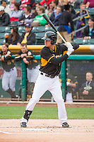 Alex Yarbrough (9) of the Salt Lake Bees at bat against the Colorado Springs Sky Sox in Pacific Coast League action at Smith's Ballpark on May 22, 2015 in Salt Lake City, Utah.  (Stephen Smith/Four Seam Images)