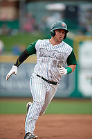 Fort Wayne TinCaps first baseman G.K. Young (15) runs the bases during a game against the Wisconsin Timber Rattlers on May 10, 2017 at Parkview Field in Fort Wayne, Indiana.  Fort Wayne defeated Wisconsin 3-2.  (Mike Janes/Four Seam Images)