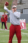 Luke Falk warms up prior to the annual Washington State Cougar spring game, the Crimson and Gray game, at Joe Albi Stadium in Spokane, Washington, on April 23, 2016.