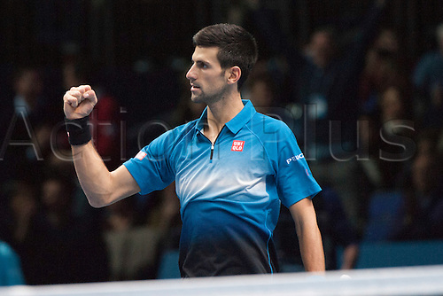 21.11.2015. The O2, London, England. ATP Tennis Tour Finals. Day 7. Novak Djokovic (SRB) [1] celebrates his win over Rafael Nadal (ESP) [5]. Djokovic won the match 6-3, 6-3.