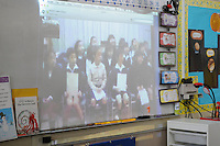 The Harker School - LS - Lower School - Global Education - KDG Video Conference with Tamagawa buddies in Japan - Photo by Kyle Cavallaro