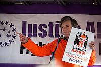 Andy Worthington (Investigative journalist, activist, photographer, singer, Author of &quot;The Guant&aacute;namo files&quot;, co-founder http://www.closeguantanamo.org , director @StandWithShaker).<br /> <br /> London, 23/02/2015. Today, the &quot;Justice Alliance&quot; and their Chris Grayling puppet dresses as King John Lackland arrived in Westminster for the last day of a tree-day march called &quot;Relay For Rights&quot; from Runnymede, birth place of the Magna Carta, to Old Palace Yard, where they held the &quot;Not the Global Law Summit&quot; rally. At the end of the demonstration outside the Houses of Parliament, protesters marched peacefully to the Queen Elizabeth II Centre where the &quot;Global Law Summit&quot; was taking place. From the organisers Facebook page: &lt;&lt; [&hellip;] February 23rd 2015 is the 799th and 8 month anniversary of the signing of the Magna Carta. The Government is using this non-anniversary to host the Global Law Summit, &quot;a unique opportunity to explore what the future holds for global business and the rule of law&quot;. This back-slapping corporate jamboree, partly funded by the Ministry of Justice, comes at a time when the same department has waged a slash-and-burn campaign on advice and representation, leaving people without deep pockets unable to get justice in court. Magna Carta represents the oldest historical commitment to equal access to justice in Britain. We are here to remind the Government of its duty to provide access to justice for all, and not merely to the rich. [&hellip;]&gt;&gt;<br /> <br /> For more information please click here: http://bit.ly/1G6aHZx