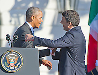 United States President Barack Obama shakes hands with Prime Minister Matteo Renzi of Italy during the Official Arrival Ceremony on the South Lawn of the the White House in Washington, DC on Tuesday, October 18, 2016. <br /> Credit: Ron Sachs / CNP /MediaPunch