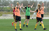 20180306 - LARNACA , CYPRUS :  Belgian Charlotte Tison and Sarah Wijnants (r) pictured during a Matchday -1 training from The Belgian Red Flames prior to their game against South Africa , on tuesday 6 March 2018 at the Alpha Sports Grounds in Larnaca , Cyprus . This will be the final game for Belgium during the Cyprus Womens Cup for a battle for the 5th place , a prestigious women soccer tournament as a preparation on the World Cup 2019 qualification duels. PHOTO SPORTPIX.BE | DAVID CATRY