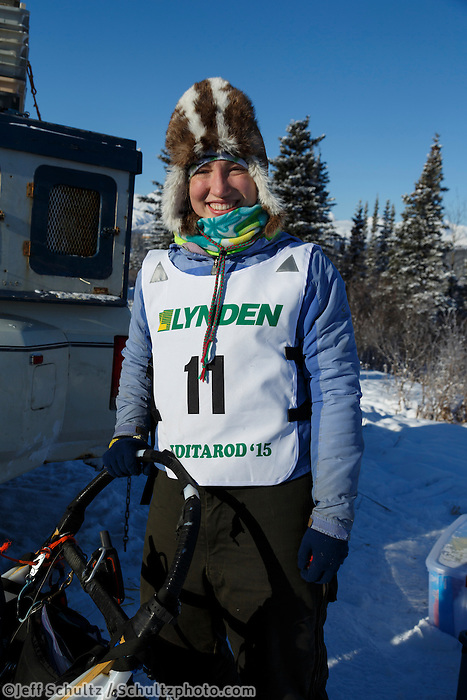 2015 Junior Iditarod musher Janelle Trowbridge at the staging area along the Denali Highway. <br /> <br /> <br /> <br /> (C) Jeff Schultz/SchultzPhoto.com - ALL RIGHTS RESERVED<br />  DUPLICATION  PROHIBITED  WITHOUT  PERMISSION